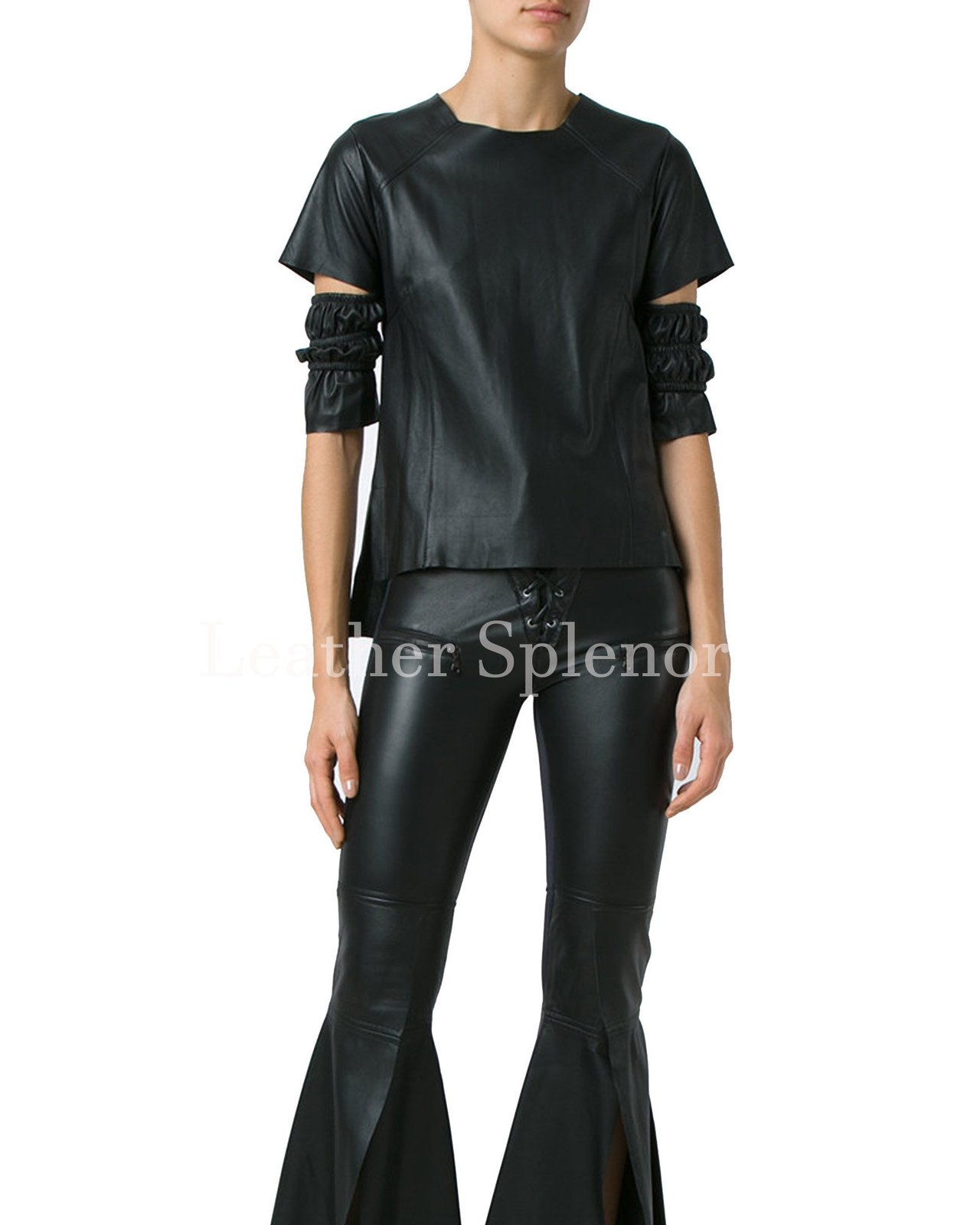 Gathered Cutout Sleeves Women Leather Top