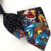 WEMBLEY US AIR BALOON STARS SANTA BLACK  Silk Christmas Necktie Ties X1-... - $19.79
