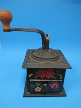 Vintage Iron And Wood Pennsylvania Dutch Decorated Table Top Coffee Grinder - $46.74