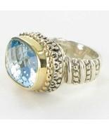 Alwand Vahan 14K Yellow Gold Beaded Sterling Blue Topaz Ring Sz 7 New $2195 - $1,188.25