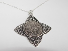Four T Pendant Lucky sixpence Birthday + 18in Sterling Silver Chain 1953... - $19.43+