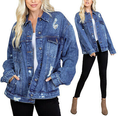 Women's Distressed Oversized Casual Button Front Cotton Jean Denim Jacket