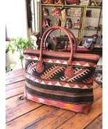 kilim travel bag,Vintage Leather kilim bags,women's bag travel bags, rug... - $399.00