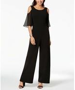 Connected Cold-Shoulder Wide-Leg Jumpsuit Black Size 10  - $33.24