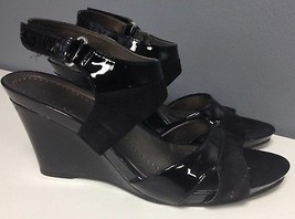 Shiny Strap Hook Ankle Wedge Loop B3660 Black Sz NATURALIZER 9 Sandals Heel Oqx7Xw
