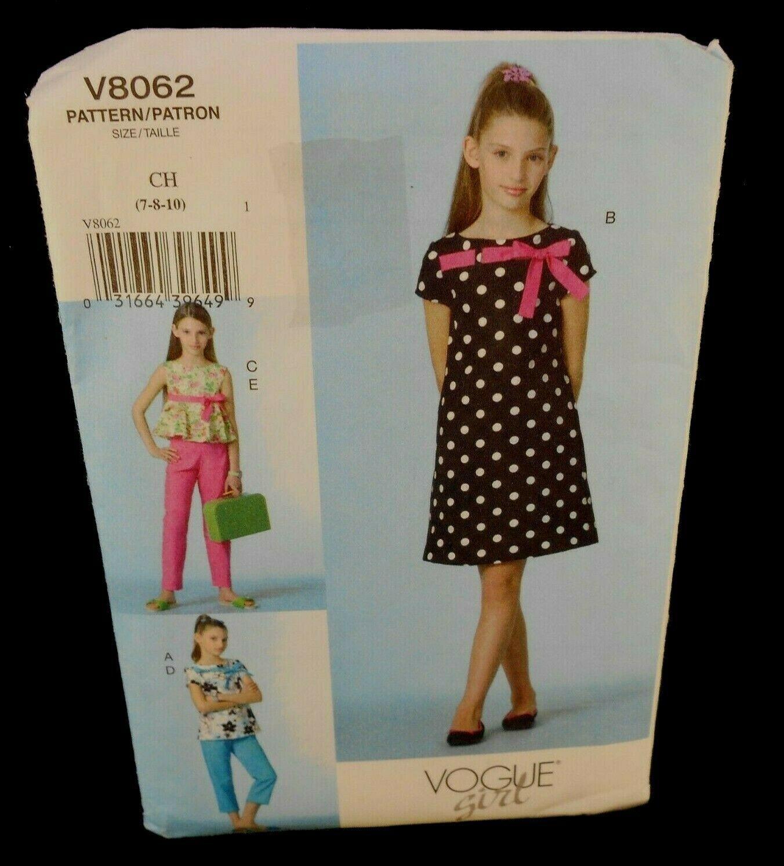 Vogue V8062 Girls 7-10 Dress Top Capri Pants short sleeves sleeveless knee 8062
