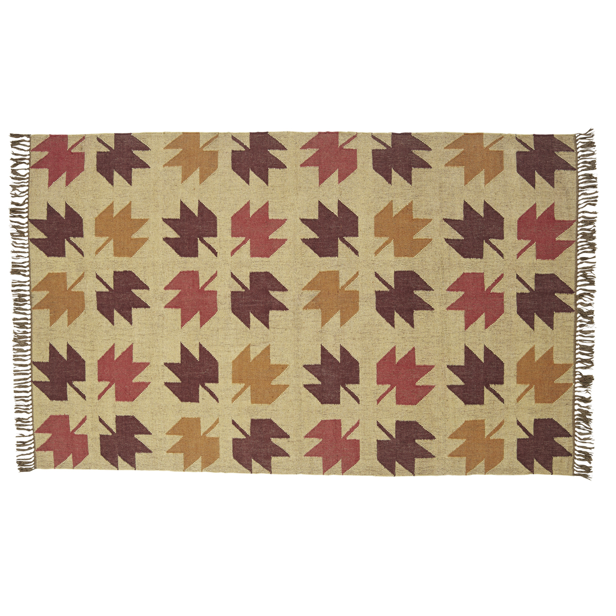 BRADDOCK Kilim Rug - 60x96 - Beige/Rust/Sable - Country Fall Leaves - VHC Brands
