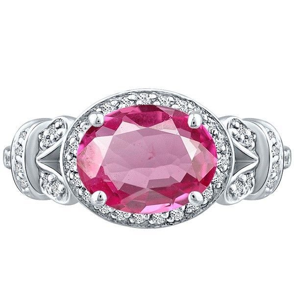 Vintage Oval Pink Topaz & Round Diamond Halo Unique Ring Sterling Silver 3.10 tc