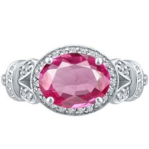 Vintage Oval Pink Topaz & Round Diamond Halo Unique Ring Sterling Silver... - $262.00