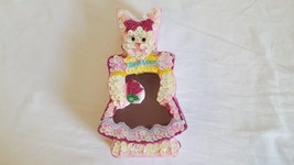 """CUTE 6.5"""" EASTER BEADED BUNNY SATIN COVERED BOX, SEQUINS, COTTON LINED, - $4.94"""