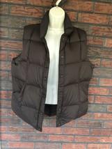 Lands End Goose Down Feather Puffer Vest Medium Brown Snap Sleeveless Ja... - $24.50