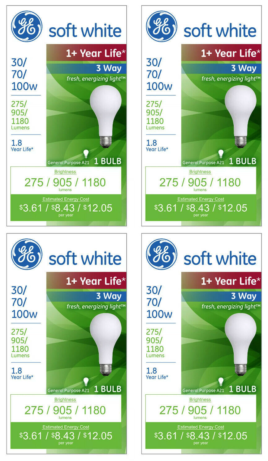 4x General Electric 30/70/100w 3 Way Long Life Incandescent Light Bulb White NEW