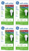 4x General Electric 30/70/100w 3 Way Long Life Incandescent Light Bulb White NEW image 1