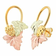 Grapes And Foliage Black Hills Gold Earrings V - $209.88