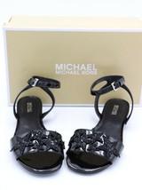 NIB Michael Kors Lexie Black Patent Leather Glitter Star Ankle Strap Sandal 6 36 - $69.00
