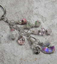 Heart Flower Crystal Beaded Handmade Keychain Split Key Ring White Pink - $16.48