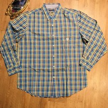 Chaps Men Long Sleeve Blue Yellow Plaid Shirt size Large - $11.88