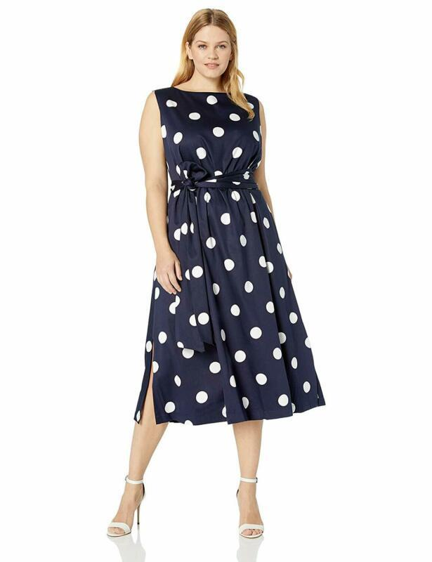 Anne Klein Women'S Size Plus Midi Dress With Attached Sash
