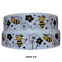 "Great 3/8"" Glory Bumble Bee Buzz Blind Printed Grosgrain Ribbon 1 Yard  - $7.99"