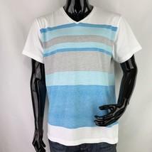 ALFANI Mens XL Slim Fit Stretch Blue Stripe Cotton Short Sleeve V-Neck T... - $10.39
