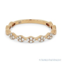 0.14ct Round Cut Diamond Cluster Band 14k Rose Gold Stackable Anniversar... - $449.00