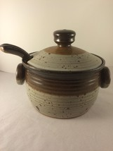 Vintage Collectible Pottery Soup Tureen Bean Pot Unique Marking With Ladle  - $69.95
