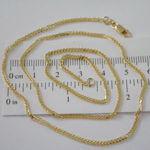 SOLID 18K YELLOW GOLD CHAIN NECKLACE 2MM EAR SQUARE LINK 15.75 IN, MADE IN ITALY image 1