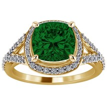 925 Sterling Silver 2.05 Ct Cushion Cut Emerald Solitaire Halo Engagemen... - $75.99