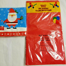 Christmas Santa Holiday Party Table-Cover & Napkins White Red Blue - $13.99