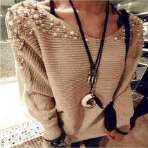 Fashion Beaded Batwing Sleeve Pullover - $24.09