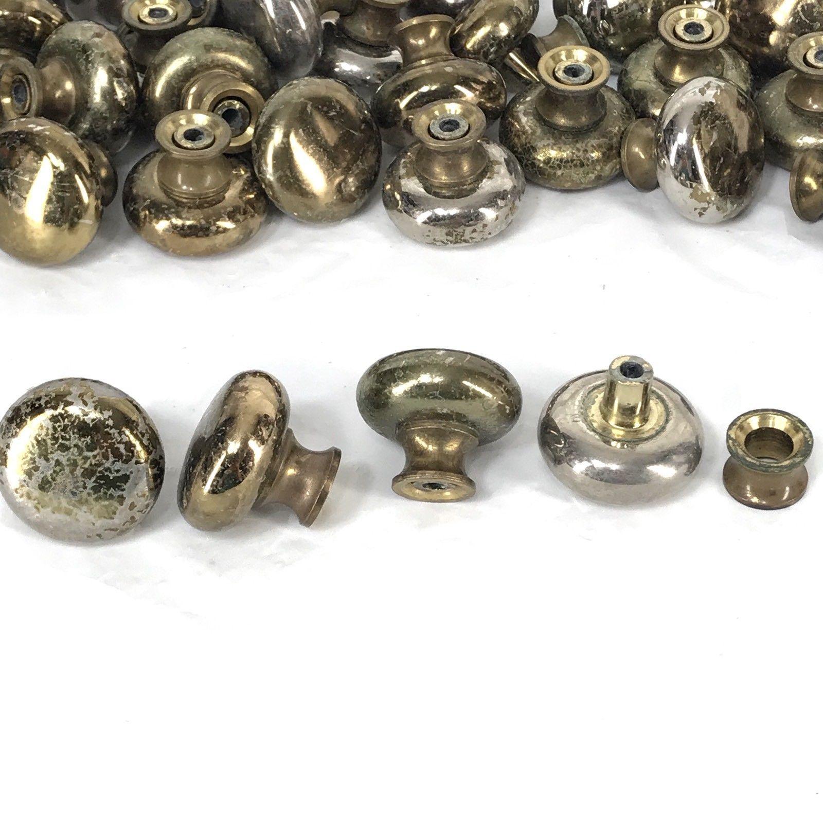 Vintage Mushroom Cabinet Drawer Knob Pull Handle Plated Distressed Lot of 39