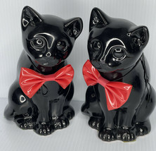 Pair Black Cat w- red bow tie Statue Enesco Designed Giftware 1985 Taiwa... - $34.65