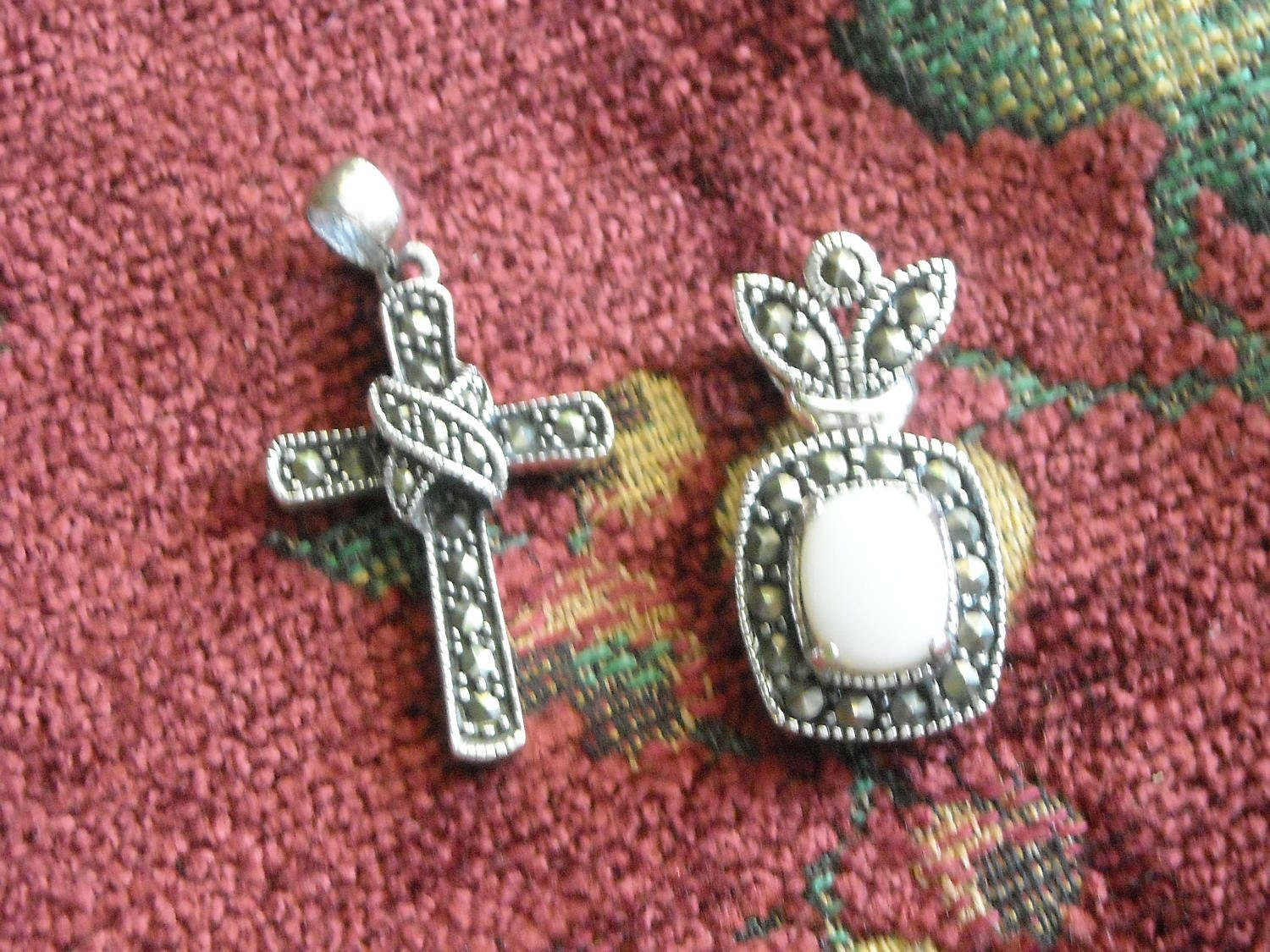 Sterling Silver Cross & Crown Opal & Marcasites Two Pendants 925 Chain Necklace