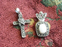 Sterling Silver Cross & Crown Opal & Marcasites Two Pendants 925 Chain N... - $49.95