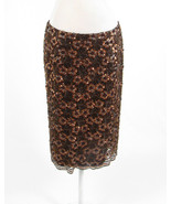 Brown silk blend JOVANI NEW YORK beaded sequin sheer overlay pencil skir... - $34.99