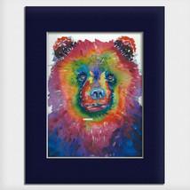 "Helen Simeonoff Native Alaskan Matted Art Print ""Bear Bear"" Rainbow Grizzly - $19.00+"