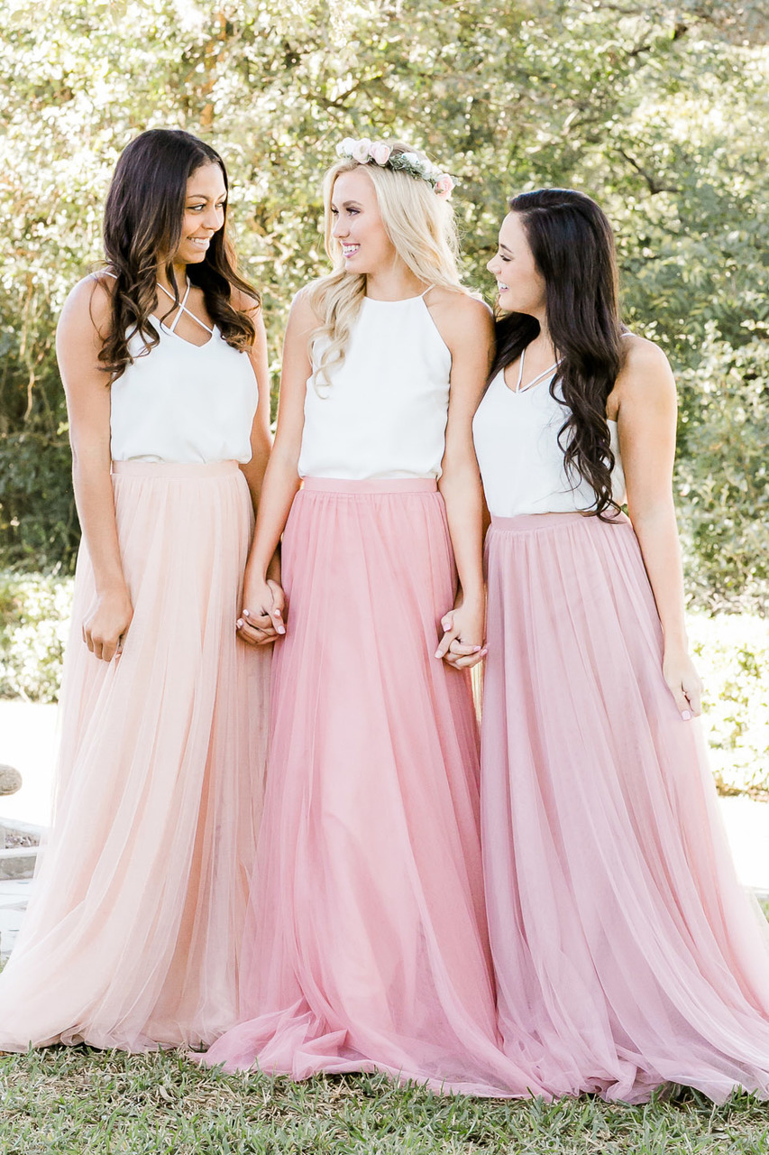 Pink bridesmaid skirt outfit