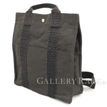 HERMES Herline Ad MM Nylon Canvas Black Gray Backpack France Authentic 5390601 - $390.63
