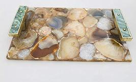 Brown Agate Serving Tray With Green Agate Handles - $89.07