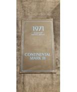 1971 CONTINENTAL MARK III FACTORY ORIGINAL OWNERS USER MANUAL - $30.00