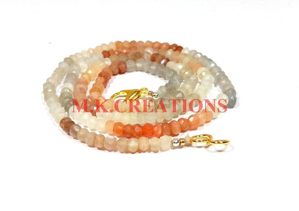 "Primary image for Natural Multi Moonstone 3-4mm Rondelle Faceted Beads 16"" Long Beaded Necklace"