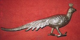 Vintage Pewter Peacock Long Trailing Tail Figurine Statuette Miniature Italy