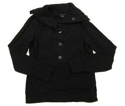 Womens Banana Republic Stretch Fleece Funnel Henley Sweatshirt in Black ... - $12.26