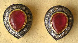 Victorian 0.72ct Rosecut Diamond Ruby Cute Wedding Stud Earrings VTJ EHS - $296.21