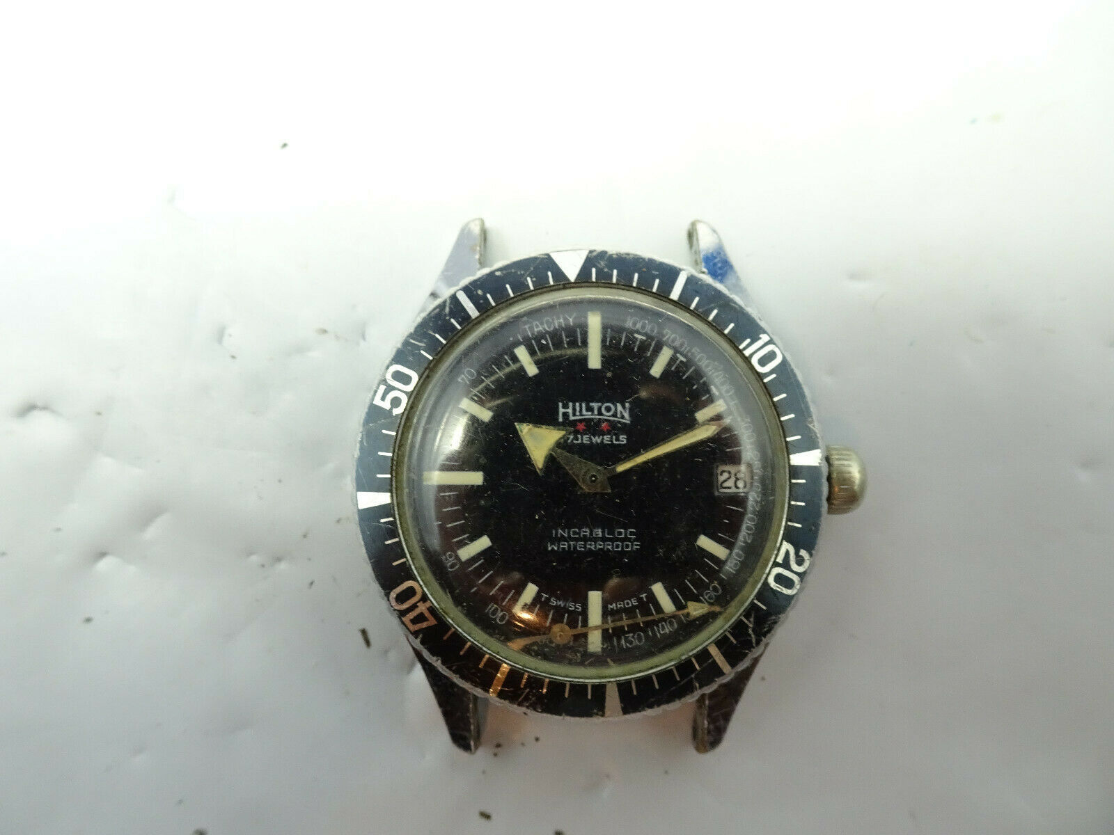 Primary image for HILTON 17 JEWEL DIVER BLACK DIAL DATE WATCH RUNS FOR YOU TO FIX SECOND HAND