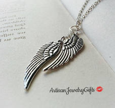 Silver Wings Necklace Silver Feather Necklace Angel Wings Necklace - $26.00+