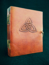Handmade Leather Journal, Notebook, Sketchbook  - Celtic TRIQUETRA Knot - $27.50