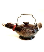 Antique Japan Duck Sugar Bowl Brown Glazed Red Ware 7.25 inches Wire Han... - $18.81