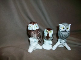 3 VINTAGE GOEBEL WEST GERMANY OWL FIGURINES - $29.69
