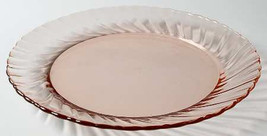 "Luncheon 8"" Plate in Rosaline-Pink Arcoroc Swirl Design Edge - Made In F... - $8.99"